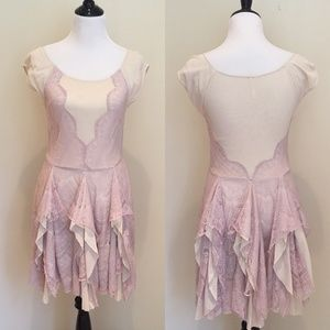 Sheer Pink Scalloped Lace Free People Dress